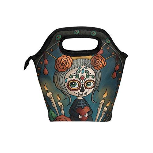 Naanle Halloween Skull Insulated Zipper Lunch Bag Cooler Tote Bag for Adult Teens Kids Girls Boys Men Women, Floral Skull Lunch Boxes Lunchboxes Meal Prep Handbag for Outdoors School Office -
