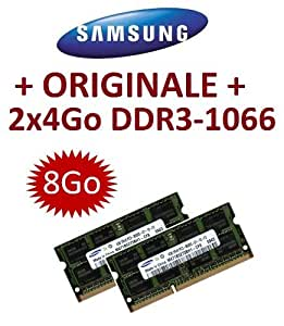 8Go memoria - Kit doble canal SAMSUNG original 2 x 4 Go 204 broches DDR3-1066 PC3-8500 SO-DIMM (2x M471B5273BH1-CF8) DDR3 por Apple MacBook + MacBook Pro + iMac + mac mini (2009/2010)