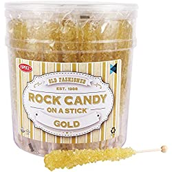 Extra Large Rock Candy Sticks (22g): 36 Gold Crystal Rock Candy Sticks - Original Flavor - Individually Wrapped for Party Favors, Candy Buffet, Bridal and Baby Showers, Weddings and Anniversaries
