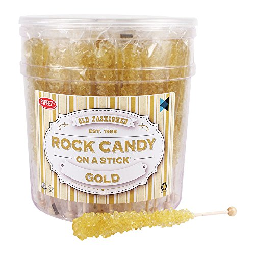 Extra Large Rock Candy Sticks (22g): 36 Gold Crystal Rock Candy Sticks - Original Flavor - Individually Wrapped for Party Favors, Candy Buffet, Bridal and Baby Showers, Weddings and Anniversaries]()