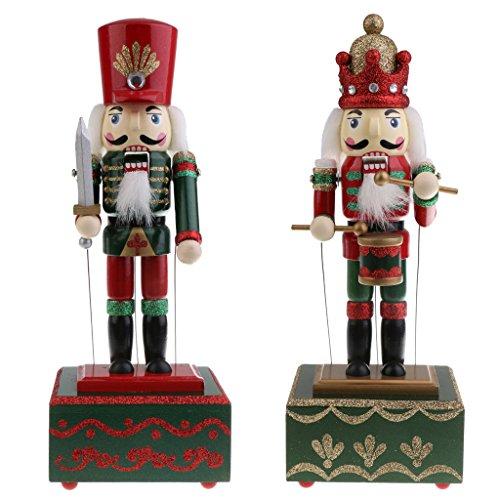MonkeyJack Set of 2pcs 32CM Wooden Xmas Nutcracker Soldier & Drummer Walnut Puppet Figures Music Box Wind Up Toy Christmas Decoration