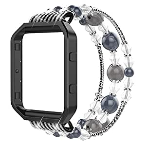 """Simpeak Compatible for Fitbit Blaze Band with Frame, Replacement Fashionable Beaded Elastic Bracelet Band Strap for Fit bit Blaze Smartwatch - Small(6.3""""),Black"""