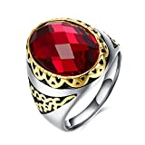 Dilanco Men's Oval Ruby Rings With 14K Gold Plated,Size 9-11