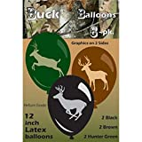 """Buck Balloons (Deer Balloons, Large 12"""" Latex Balloons Printed on both sides, 3 color, 6 Pack) Next Camo Party Collection by Havercamp"""