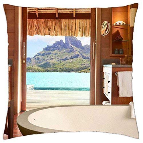 (Asefcnxkjii Four Seasons Resort Bora Bora South Pacific - Throw Pillow Cover Case 18x18 Inches)