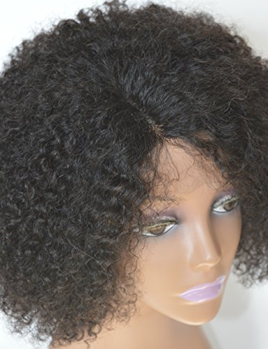 Chantiche Silk Top Invisible Deep Parting Short Kinky Curly Lace Wigs For Black Women Natural Looking Brazilian Remy Human Hair Wigs With Right Part 14 Inch #1B(GL-0103) by Chantiche Lace Wig (Image #7)