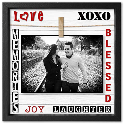 Instant Inspirations Memories & Love Picture Frame 4x6 or 5x7 Anniversary Photo Frame for Boyfriend, Girlfriend, Wife or Husband. Cleverly Designed 10x10 Wood Frame with Clip.
