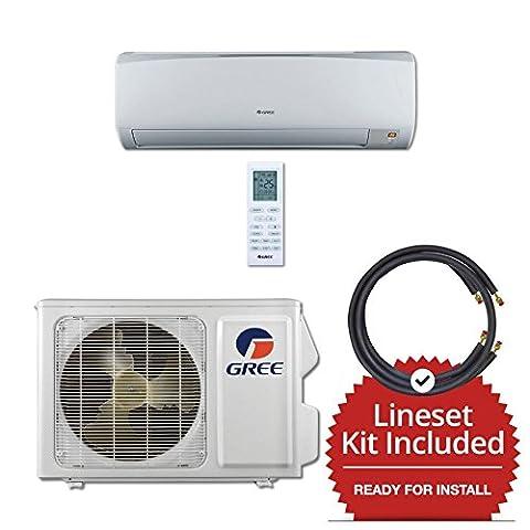 Gree RIO09115-143815 - 9,000 BTU 16 SEER Wall Mounted Mini Split Air Conditioner with Heat Pump 115V & 15' Line Set Kit