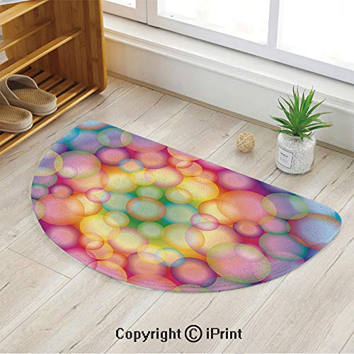 (LEFEDZYLJHGO Customized Half Moon Rug for Bathroom Half Circle Rug,Colorful Hazy Balls Circular Hoops Bubbles Vibrant Rainbow Style Dreamy Art Print Decorative,47
