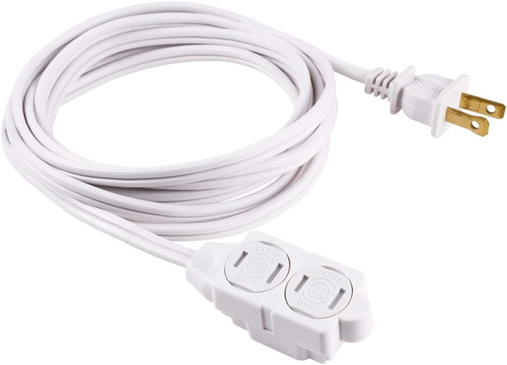 GE 6 Ft Extension Cord, 3 Outlet Power Strip, 2 Prong, 16 Gauge, Twist-to-Close Safety Outlet Covers, Indoor Rated, Perfect for Home, Office or Kitchen, UL Listed, White, 51937