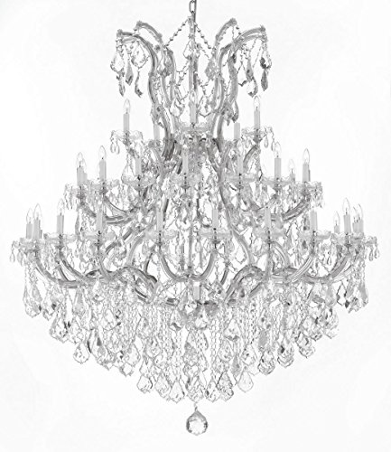 Swarovski Crystal Trimmed Chandelier! Large Foyer / Entryway Maria Theresa Crystal Chandelier Chandeliers Lighting! H 60″ W 52″