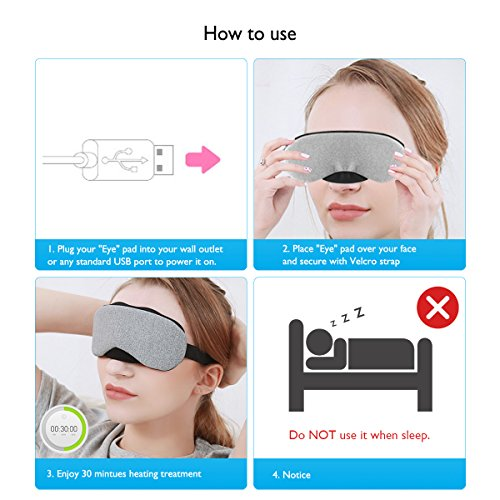 Dry Eye Compress, Lifestance Cotton Eye Mask USB Heated Hot Pads,Designed to Relieve Dry Eye, Stress, Tired Eyes, Puffy Eyes, Blepharitis, MG