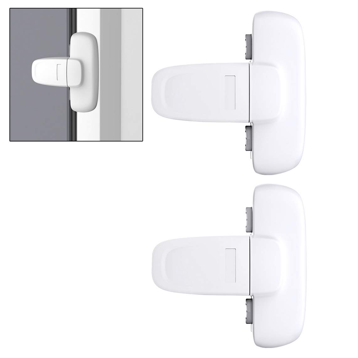FASHIONROAD Refrigerator Lock, 2 Pack Safety Child Lock Self Adhesive Appliance Lock Fridge Lock for Toddler & Kid no Tools Need or Drill - White