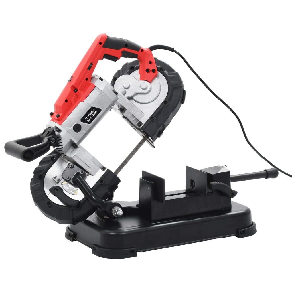 Festnight Scie /à Ruban avec Base et Mallette Portable Acier noir et rouge 50 x 27 x 19 cm