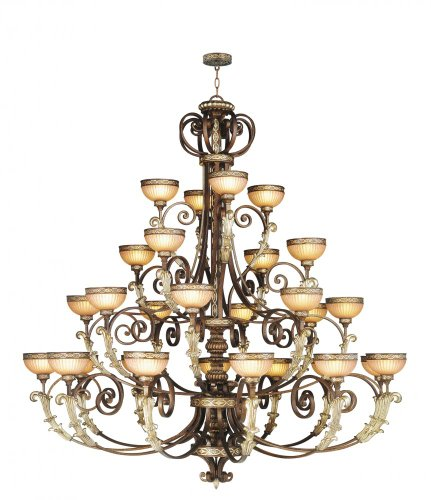 Livex Lighting 8537-64 Seville - Twenty-Eight Light Chandelier, Palacial Bronze/Gilded Accent Finish with Hand Crafted Gold Dusted Art Shade