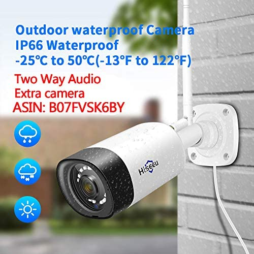 【Two Way Audio】Hiseeu Wireless Security Camera System,1TB Hard Drive,4Pcs 1080P Cameras 8Channel NVR,Mobile&PC Remote,Outdoor IP66 Waterproof,Night Vision,Motion Alert,Plug&Play,7/24/Motion Record 51H 2Bx05ryzL