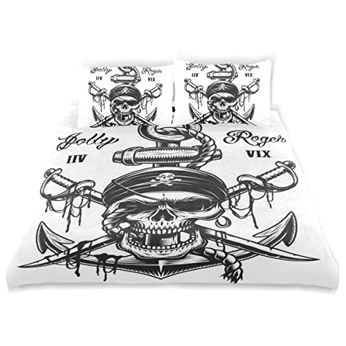 - CANCAKA Pirate Duvet Cover Set Pirate Skull Emblem Swords Anchor Rope Design Bedding Decoration Twin Size 3 PC Sets 1 Duvets Covers with 2 Pillowcase Microfiber Bedding Set Bedroom Decor Accessories