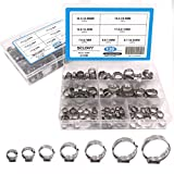 Seloky 130Pcs 7-21mm 304 Stainless Steel Cinch Clamp Rings, Single Ear Stepless Hose Clamps Assortment Kit, Crimp Pinch Fitting Tools -Packed in Plastic Box