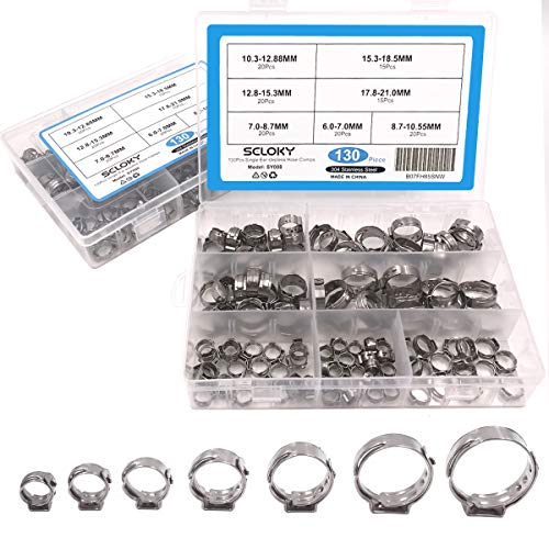 Seloky 130Pcs 7-21mm 304 Stainless Steel Cinch Clamp Rings, Single Ear Stepless Hose Clamps Assortment Kit, Crimp Pinch Fitting Tools -Packed in Plastic ()