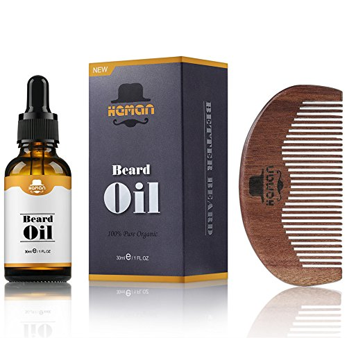 Black Mustache And Beard Kit (Beard Oil Kit for Men by HEMAN, Men's Beard Oil with Comb, 100% Natural & Organic, 1 fl.oz. Mustache & Goatee Growth Beard Oil, Beard Grooming Care Set for Men, Best Gift for Gentlemen)