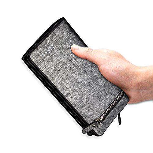 Fandare Blu Portamonete Capiente Credito Portafogli Carte Tasche Bifold Zip Estremamente Pu Wallet A Di Grigio rrqd7nB