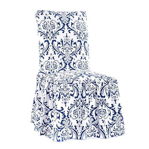 (Classic Slipcovers Damask Print Ruffled Dining Chair Slipcovers (Set of 2) Blue)