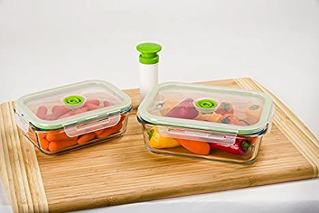 Lasting Freshness 5 Pc Glass Vacuum Food Storage Containers, Rectangular  (Small)