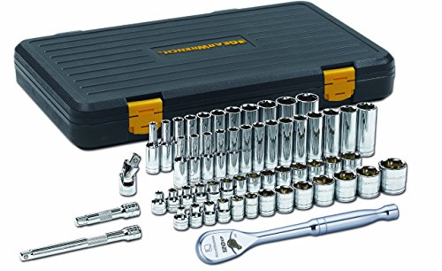 56-Pc 3/8 Drive SAE/Metric 6 pt Standard & Deep Socket Set