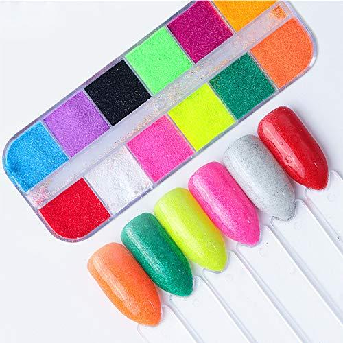 Artlalic 12 Grids Candy Pure Color Nail Powder Sugar Nails Art Glitter Chrome Manicure Pigment