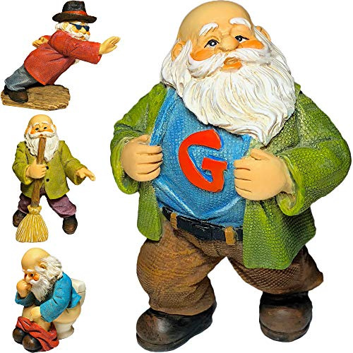 Mood Lab Garden Gnomes - Fairy Garden Set of 4 Miniature Gnome Figurines 2,8 inch H - Hand Painted Funny Gnomes Kit for Outdoor or House Decor -