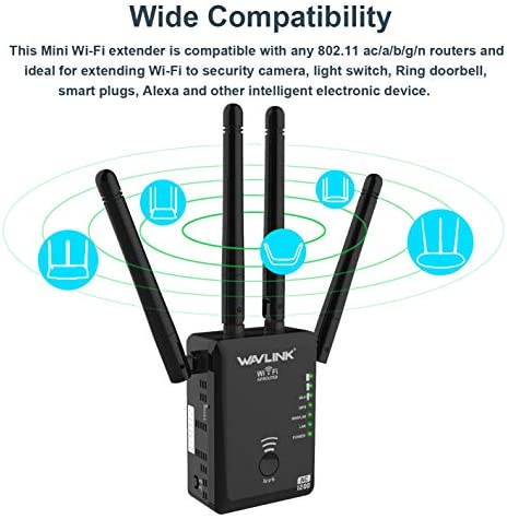 1200Mbps WiFi Range Extender, Wireless WiFi Signal Repeater Booster, Dual Band 2.4 and 5GHz WiFi Extender Signal Amplifier 360 Degree Full Coverage