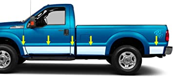 """1999-2016 Ford F-250//F-350 Regular Cab Long Bed Body Side Molding 6Pc Trim 1.5/"""""""