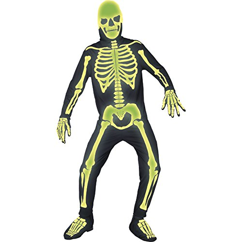 Smiffy's Men's Graveyard Bones Costume, Jumpsuit, Hood, Gloves and Boot covers, Gothic Manor, Halloween, Size L, (Glow In The Dark Skeleton Suit)