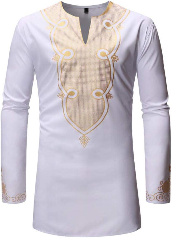 IYFBXl Nueva Camisa de Manga Larga para Hombre Dorado Viento Africano Camisa para Hombres ZT-FZ30, Blanco, L: Amazon.es: Deportes y aire libre