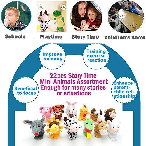 22 pcs Plush Animals Finger Puppet Toys - Mini Plush Figures Toy Assortment for Kids, Soft Hands Finger Puppets Game for Autistic Children, Great Family Parents Talking Story Set