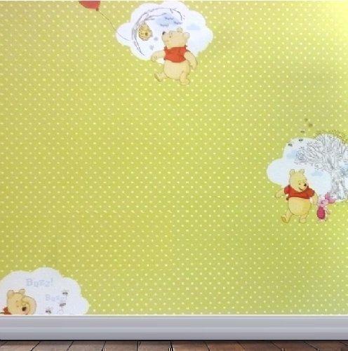 Disney Winnie The Pooh Wallpapers - DISNEY WINNIE THE POOH GREEN POLKADOT CHILDRENS BEDROOM PLAYROOM WALLPAPER 02597