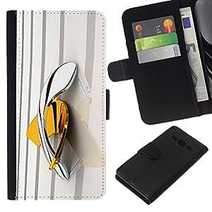 KLONGSHOP // Tirón de la caja Cartera de cuero con ranuras para tarjetas - amarilla boomerang bling del platino de oro - Samsung Galaxy A3 //