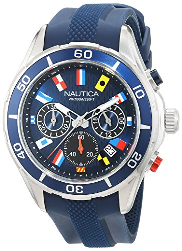 Nautica Men s  NST 12 FLAGS  Quartz Stainless Steel and Silicone Casual Watch, Color:Blue (Model: NAD16534G)