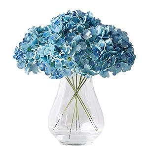 Kislohum Artificial Hydrangea Flowers Heads 10 Teal Hydrangea Silk Flowers Head for Wedding Centerpieces Bouquets DIY Floral Decor Home Decoration with Long Stems 1