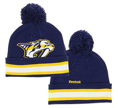 Reebok NHL Big Boys Youth (8-20) Face Off Cuffed Knit Winter Hat with Pom, Nashville - Hat Junior Hockey