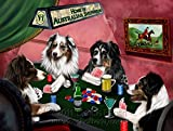 Home of Australian Shepherd 4 Dogs Playing Poker Art Portrait Print Woven Throw Sherpa Plush Fleece Blanket (60x80 Fleece)