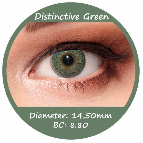 Grüne Farbige Kontaktlinsen 3 Monatslinsen mit Stärke -3,50 Design: Distinctive Green