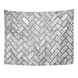 Emvency Tapestry Gray Brick Black and White Stone Wall Abstract Pattern Herringbone Antique Home Decor Wall Hanging for Living Room Bedroom Dorm 60x80 Inches