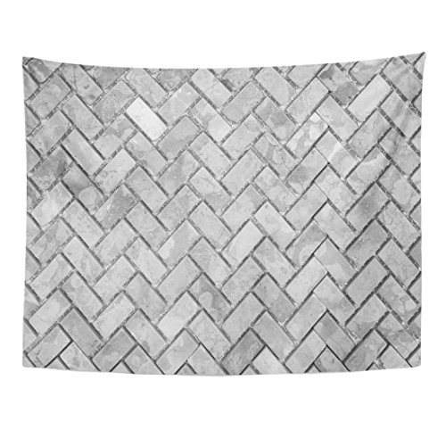 Emvency Tapestry Gray Brick Black and White Stone Wall Abstract Pattern Herringbone Antique Home Decor Wall Hanging for Living Room Bedroom Dorm 60x80 Inches by Emvency