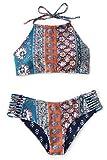 Seaselfie Women's Floral Tied at Back Halter Padded Bikini Beach Bathing Suit Medium