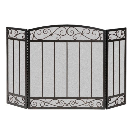 Bar Screen (Panacea 15918 3 Panel Scroll Screen with Vertical Bars, Brushed)