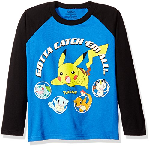 Pokemon Boys' Gotta Catch Them All Long Sleeve Raglan Tee Photo