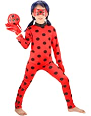 Ladybug Costumes Girls' Cosplay Jumpsuit with Mask,Yoyo and Gloves 4pcs(Updated Version)