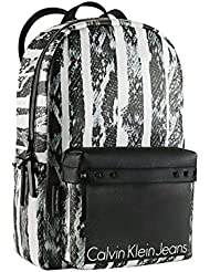 Calvin klein Womens Hannah Snake Print Backpack Black and White