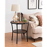 Vintage Brown / Black Frame 2-tier Round Side End Table Nightstand 25.5H